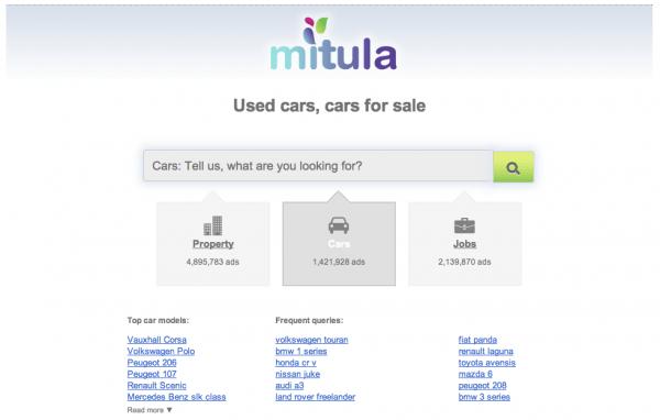 Mitula cars UK homepage