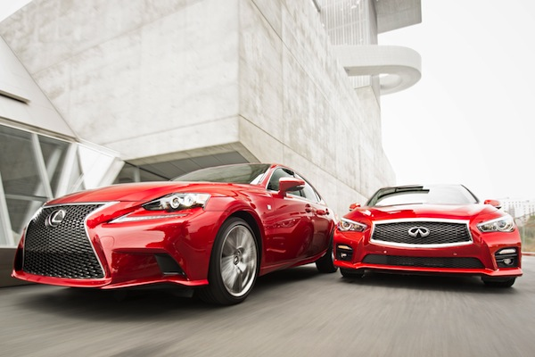 Lexus IS Infiniti Q50 USA February 2014. Picture courtesy of motortrend.com