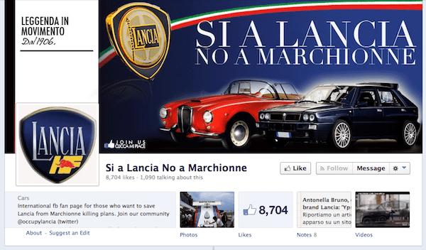 Si a Lancia No a Marchionne Facebook page