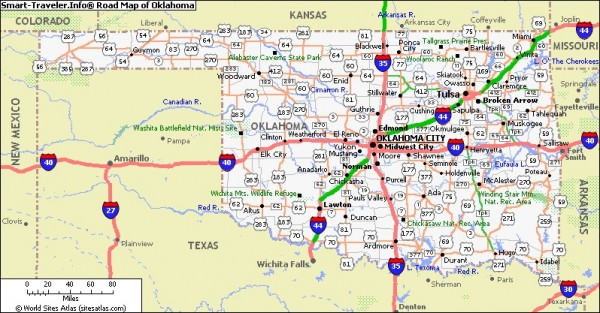 Oklahoma state map. Picture courtesy of Smart-Traveler.Info