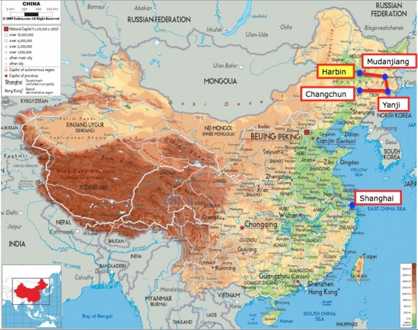 China 2015 map with Harbin
