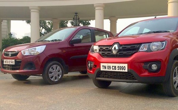 Renault Kwid Suzuki Alto India January 2016. Picture auto.ndtv.com