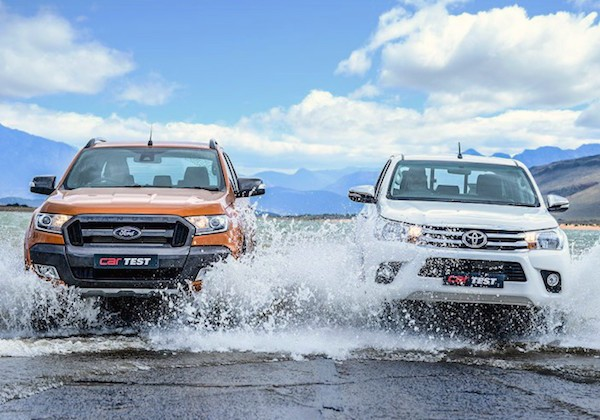 Ford Ranger Toyota Hilux South Africa April 2016. Picture courtesy carmag.co.za