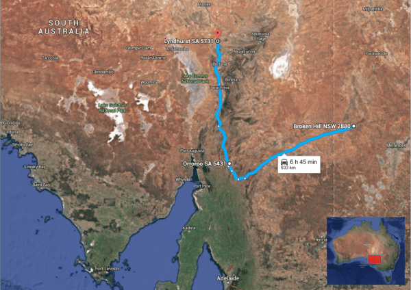 Broken Hill-Lyndhurst map