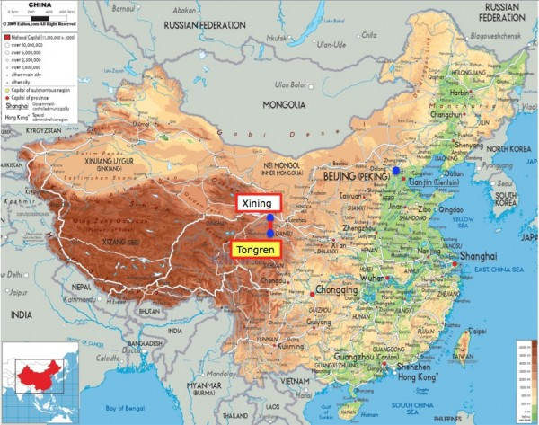 China map with Tongren