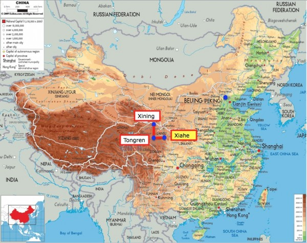 China map with Xiahe