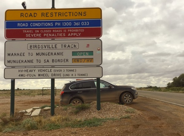 Haval H8 Birdsville Track road sign