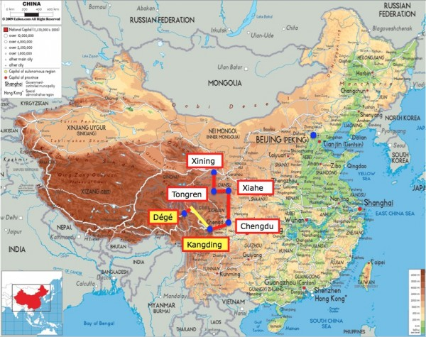 China Map with Kangding and Dege