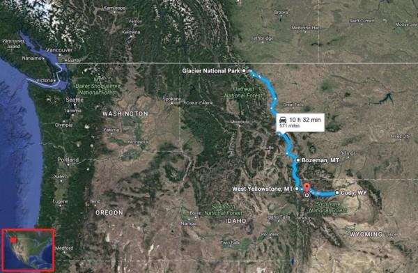 Glacier Yellowstone map