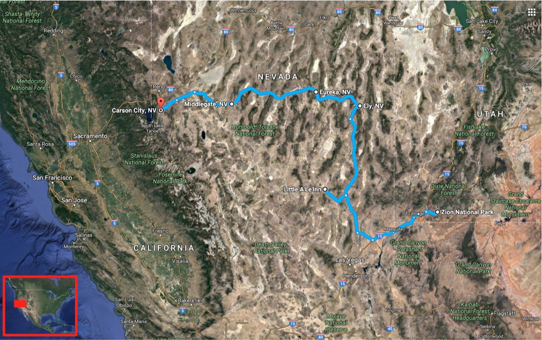 Loneliest Road In America Map.U S North To South Nevada Area 51 And The Loneliest Road In