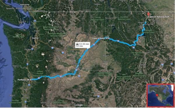 Portland Glacier map