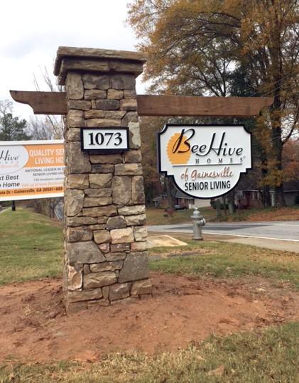Beehive Block Stone Sign Column Monument