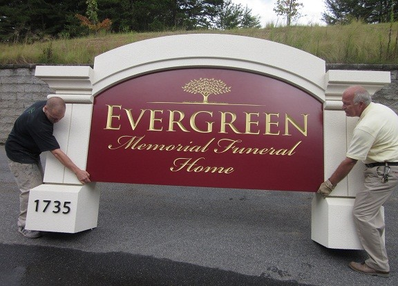 Evergreen Funeral Sign Monument