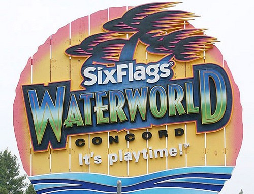 Six Flags Theme Park Waterworld Ride Sign Installed