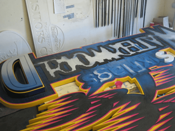 Six Flags Theme Park Waterworn Ride Sign In Production 1