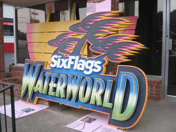 Six Flags Theme Park Waterworn Ride Sign In Production 4