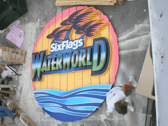 Six Flags Theme Park Waterworn Ride Sign Complete