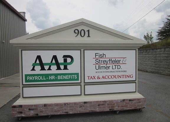 Changeable Tenant Panels On Custom Business Park Entrance Sign Monument