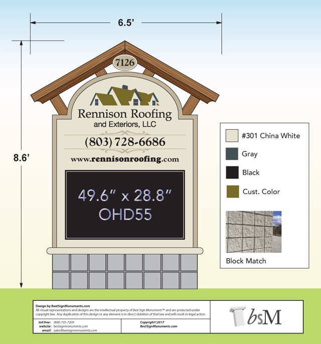 Monument Sign Design Services - Roofing Company Example