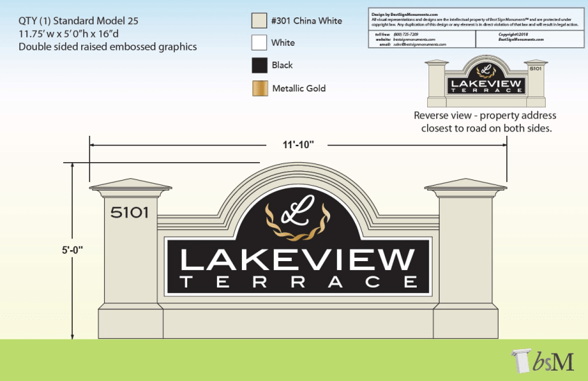 Lakeview Terrace Custom Sign Monument Design