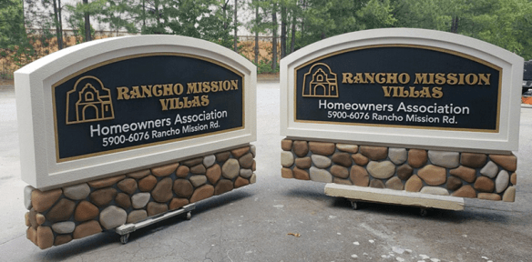 Stone Sign Monuments with Faux River Rock - Rancho Mission Villas