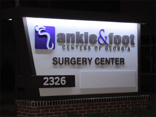 Outdoor Lighted Business Signs - Top Down Lighting
