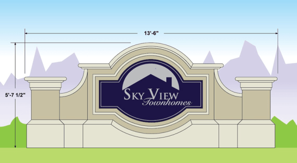 Two Sign Monument Projects With Same Names - Skyview Townhomes Sign Monument Design