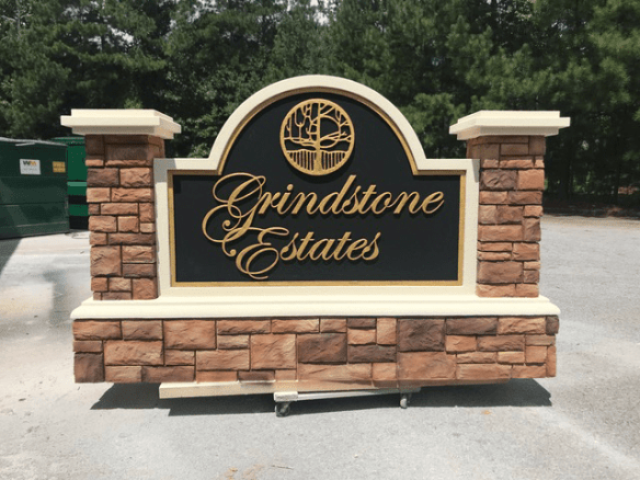 monument sign projects - monument entrance sign stone complete Grindstone Estates