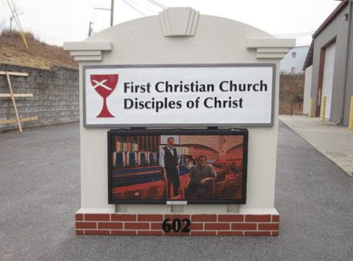 Church Sign Monument with Full-Color LED Message Panels