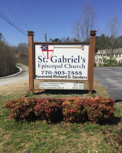 Before - Saint Gabriel's Church dilapidated sign that needs replacing.