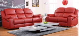 red leather sofa recliner