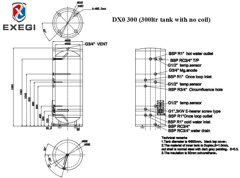 Exegi DX0 300 litre stainless steel tank technical specifications showing port locations, port heights and total dimensions.