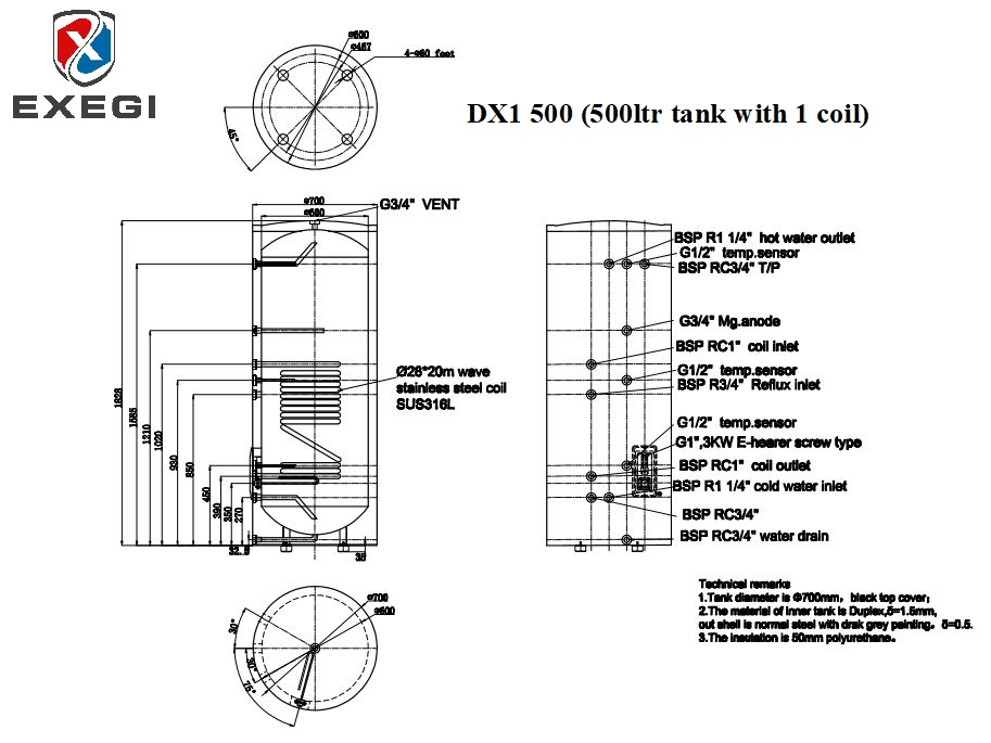 Exegi DX1 500 litre single coil stainless steel tank technical specifications showing port locations, port heights and total dimensions.