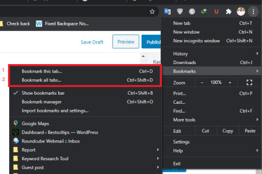 bookmarks option in crome