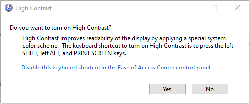 turn on high contrast?