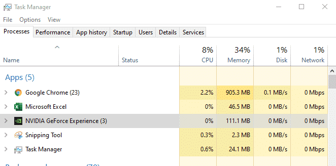 NVIDIA geforce in task manager