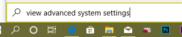 advance system settings in windows search