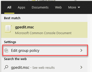 group polict in search result