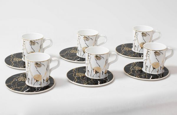 modern turkish coffee cups set white black and gold color