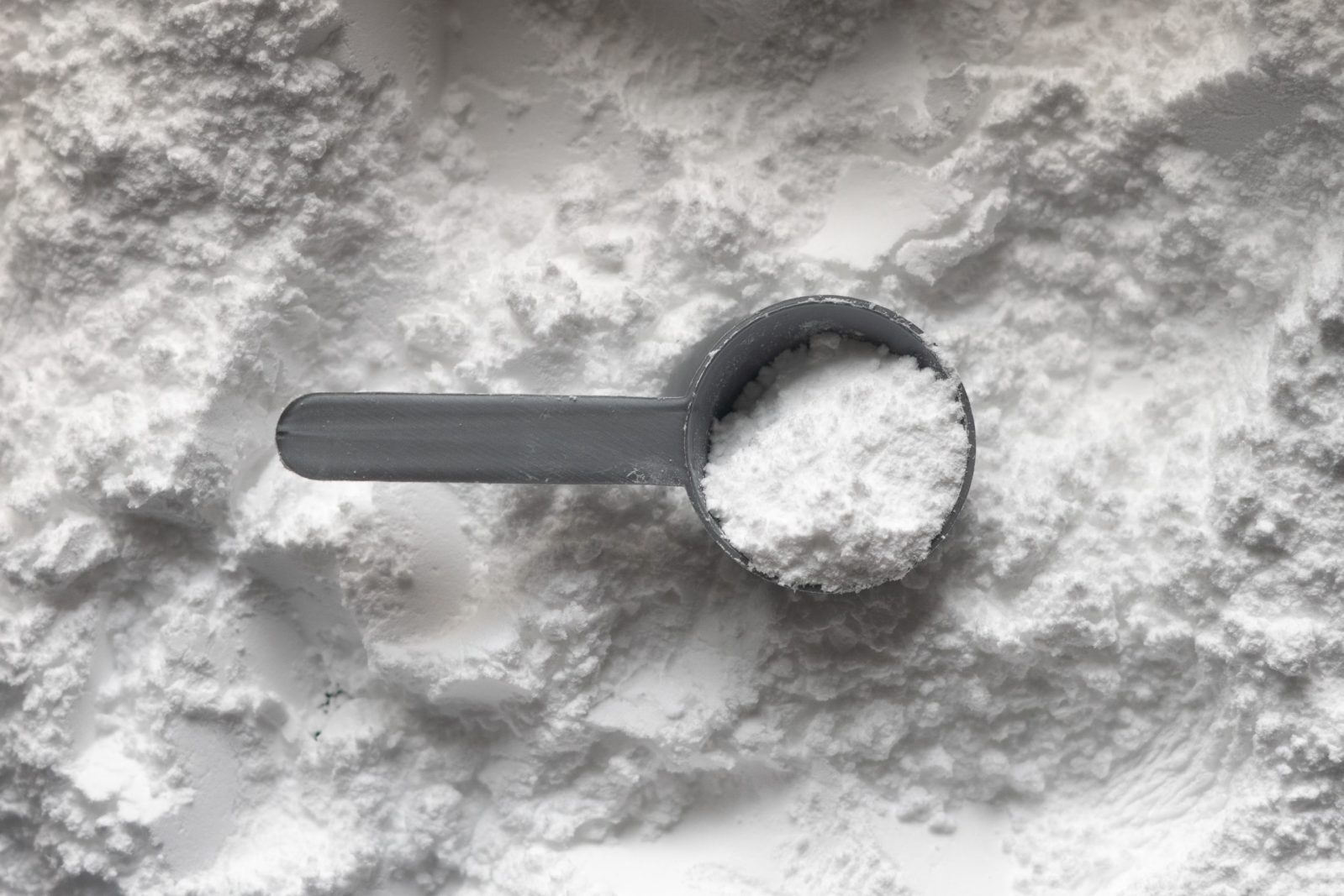 Creatine powder with scoop