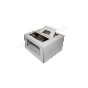 Упаковка (коробка) для торта с ручкой и окном 280*280*200 (белая)