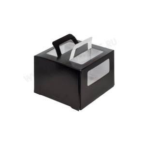 Упаковка (коробка) для торта с ручкой и окном 280*280*200 (черная)