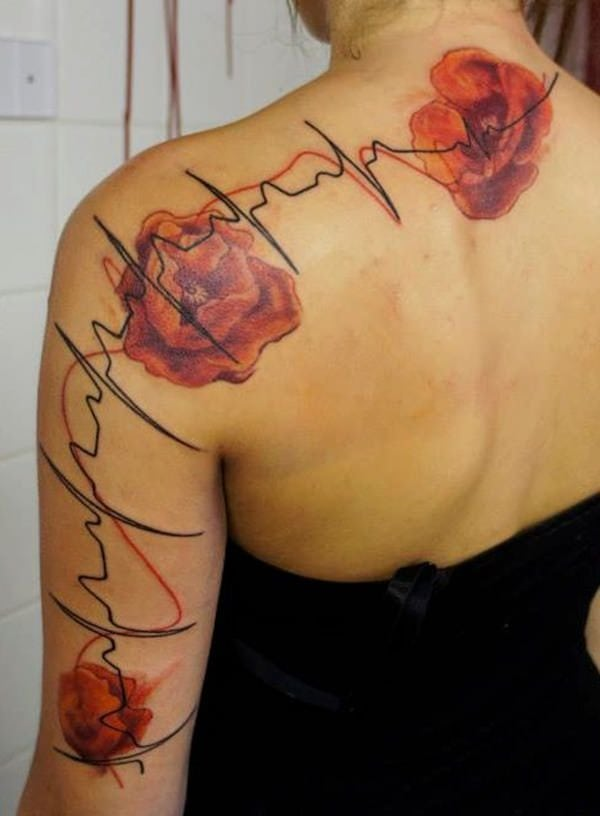 Heartbeat Lines Tattoo : heartbeat, lines, tattoo, Amazing, Heartbeat, Tattoo, Designs, Woman, BestTattooGuide.com