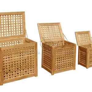 Wood Laundry Bin Set