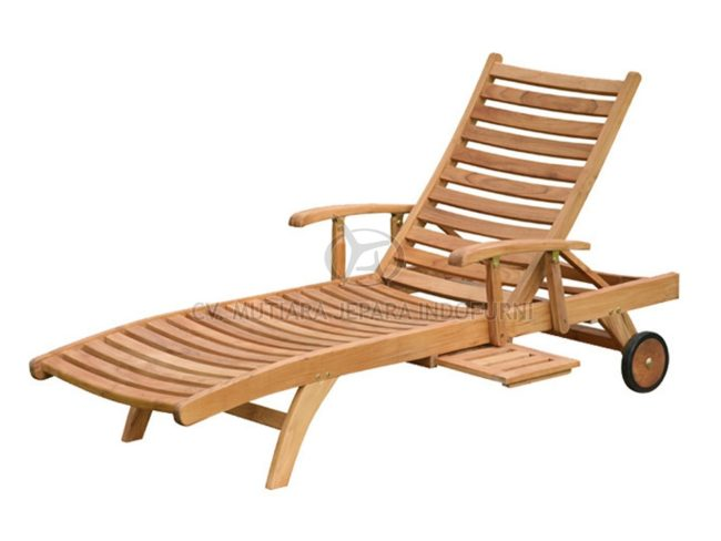 Teak Wood Sun Lounger with Arm