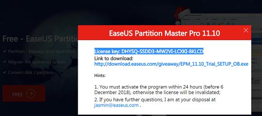 EASEUS Partition Master Pro Free License Key