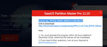 EASEUS Partition Master Professional Key 2019