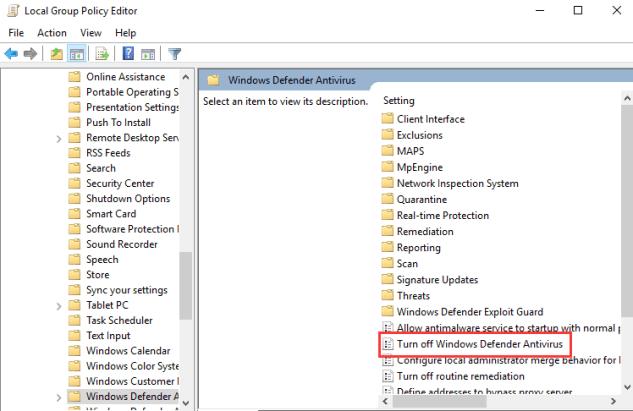 Disable Windows 10 Defender