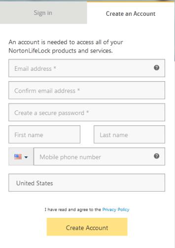 Create an Account Norton Family