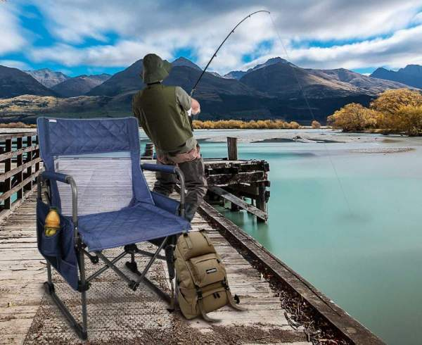 fishing chair setup leather directors zenree folding camping director s instant best tent pleasant padding and mesh combination